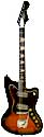 Harmony H19 silhouette electric guitar, cherry redburst, 2 DeArmond pickups, type H vibrato tail piece chicago 1965