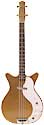 Silvertone 3412, shorthorn, solid center, masonite top, spruce frame electric bass with1 lipstick tube pickups in gold 1963
