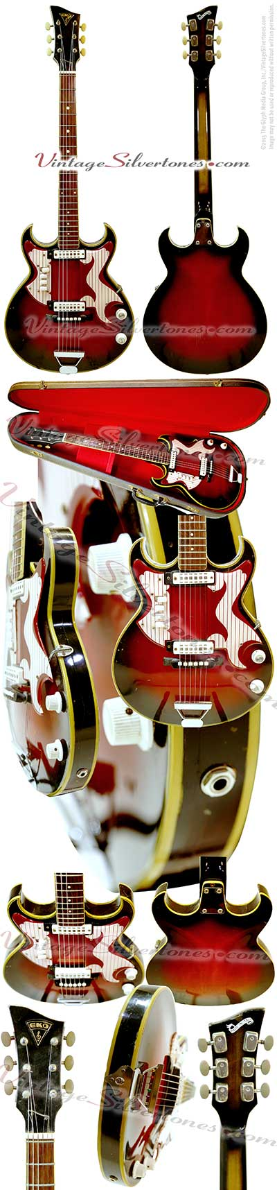 EKO Florentine electric guitar 2 pick ups made in Italy circa1967 red burst double cutaway