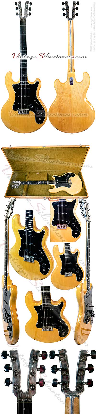 Kramer DMZ 3000-Neptune, NJ 3 pickup, electric guitar, 1979, natural blonde finish, black pickguard, double cutaway