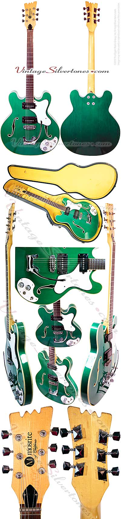 Mosrite CE, green, 2pu, double cutaway, hollow body, Mosrite tailpiece, 1966, California