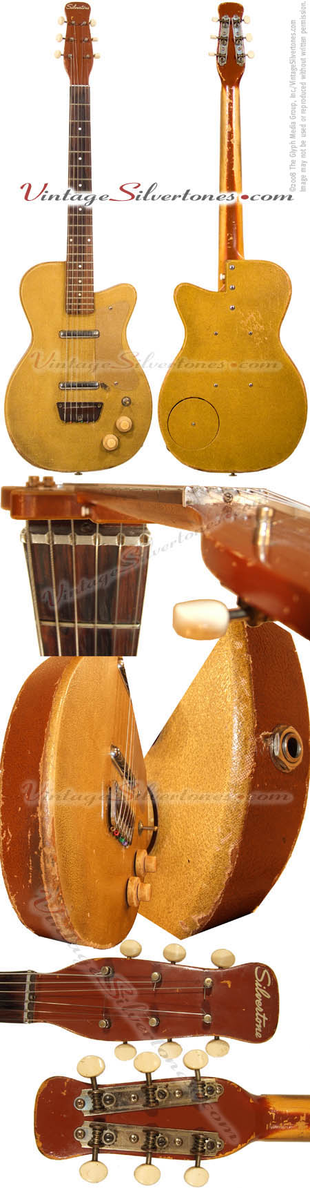 Silvertone 1359 made by Danelectro U2, two pickup, electric guitar, semi-hollow body, ginger tolex covered body with brown tolex binding, masonite body, lipstick pickup, made in 1956