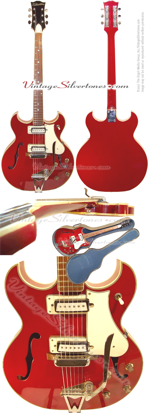 Silvertone 1460 Teisco-made 2pu, red, hollow body electric guitar