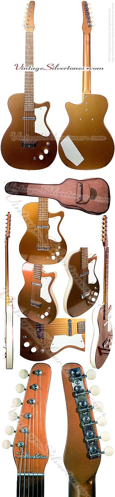 Silvertone 1415-Danelectro-made 1 pickup, electric guitar, dolphin, 1960, bronze